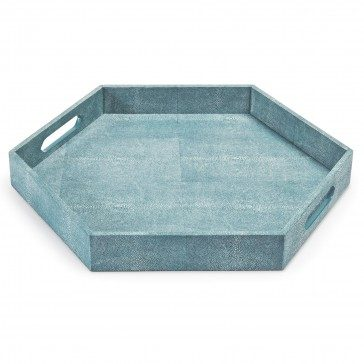 shagreen tray, hexagon, aqua, turquoise