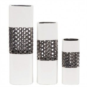 Textured Ceramic Vases Set of 3