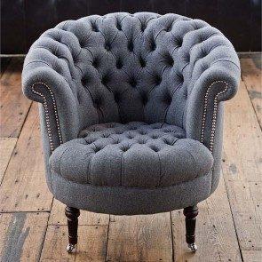 Gray Wool Tufted Tub Chair