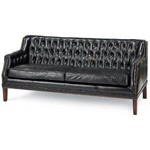 Italian Black Leather Equestrian Sofa