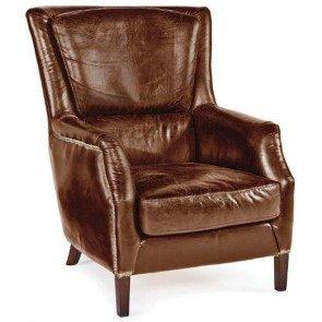 Vintage Brown Leather Garconniere chair